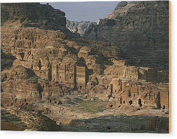 The Caves And Tombs Of Petra, Shown Wood Print by Annie Griffiths