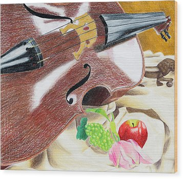 The Cello Wood Print by Kayla Nicole