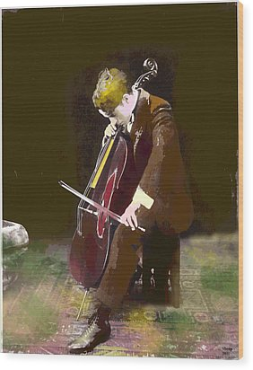 The Cello Player Wood Print