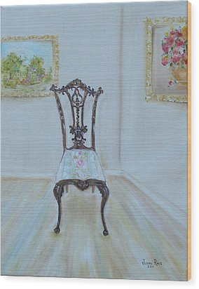 Wood Print featuring the painting The Chair by Judith Rhue