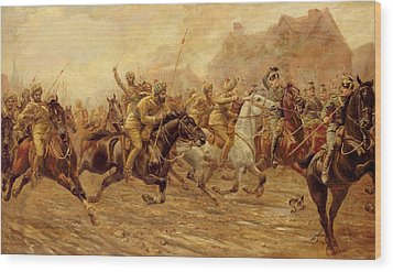 The Charge Of The Bengal Lancers At Neuve Chapelle Wood Print by Derville Rowlandson