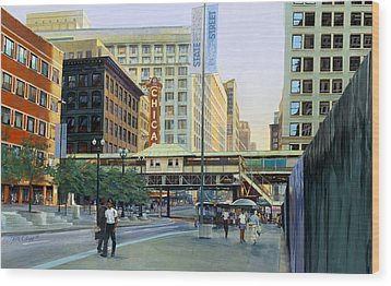The Chicago Theater Wood Print by Rick Clubb
