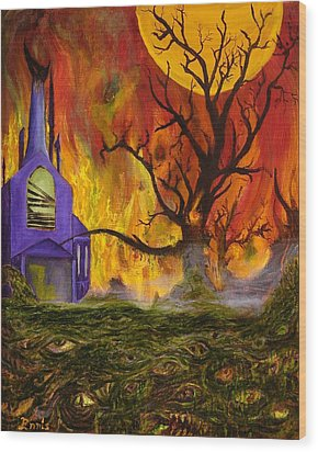 Wood Print featuring the painting The Church Of Ruin by Christophe Ennis