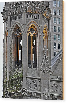 The Church Tower Wood Print by Mary Machare