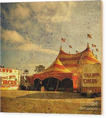 The Circus Is In Town Wood Print by Susanne Van Hulst
