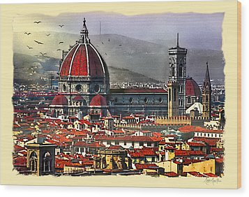 The City Of Florence Wood Print