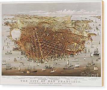 The City Of San Francisco Wood Print by Pg Reproductions