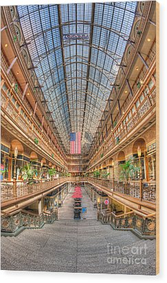 The Cleveland Arcade II Wood Print by Clarence Holmes