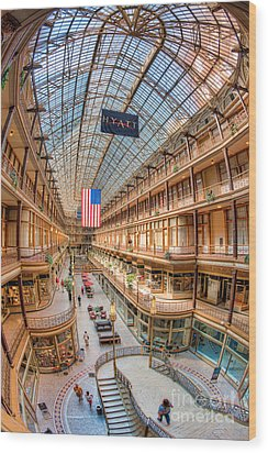 The Cleveland Arcade Iv Wood Print by Clarence Holmes