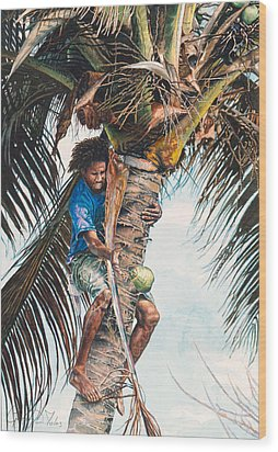 The Coconut Tree Wood Print by Gregory Jules