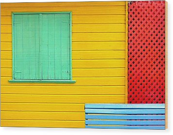 The Colours Of Caminito Wood Print by by Felicitas Molina