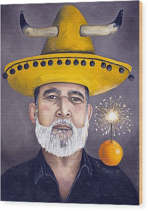 The Competitive Sombrero Couple 2 Wood Print by Leah Saulnier The Painting Maniac