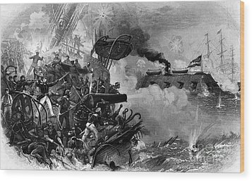 The Confederate Ironclad Merrimack Wood Print by Photo Researchers