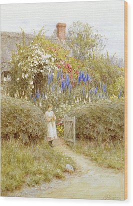 The Cottage Gate Wood Print by Helen Allingham