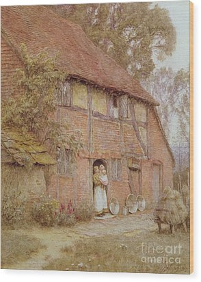 The Cottage With Beehives Wood Print by Helen Allingham