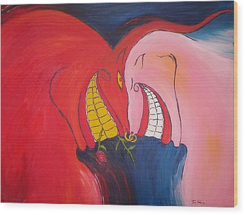 The Courtship Of Diablo And Strawberry Wood Print by Lee Thompson
