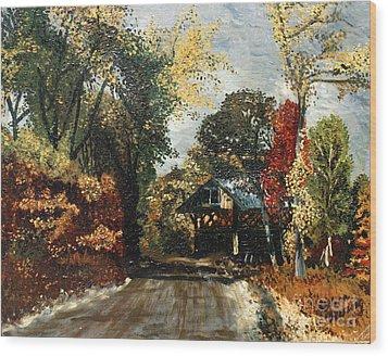 The Covered Bridge Wood Print by Elena Irving