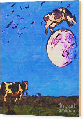 The Cow Jumped Over The Moon . Painterly Wood Print by Wingsdomain Art and Photography