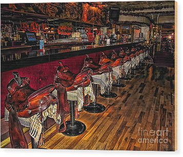 The Cowboy Bar Wood Print
