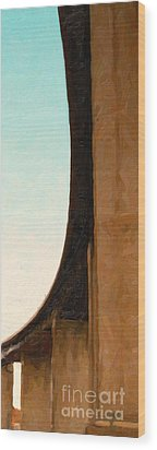The Crockett Carquinez Bridge Skyway In Abstract Wood Print by Wingsdomain Art and Photography