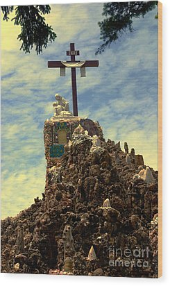 The Cross IIi In The Grotto In Iowa Wood Print by Susanne Van Hulst