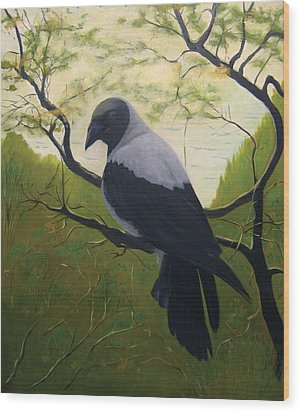 Wood Print featuring the painting The Crow by Tone Aanderaa