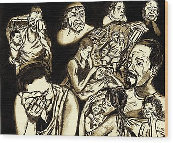 The Crying Faces Of New Orleans Wood Print by Master J Harrattan