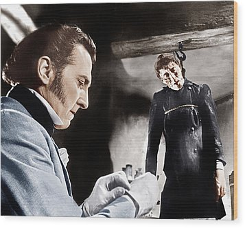 The Curse Of Frankenstein, From Left Wood Print by Everett