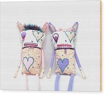 The Cutie Patootie Zombie Bunny Twins Wood Print by Oddball Art Co by Lizzy Love