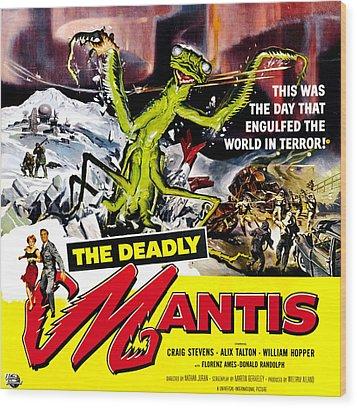 The Deadly Mantis, 6-sheet Poster Art Wood Print by Everett