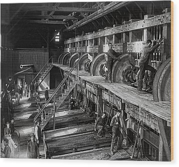 The Deadwood Terra Gold Ore Stamp Mill C. 1888 Wood Print by Daniel Hagerman