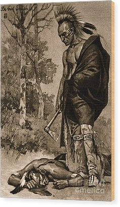 The Death Of Pontiac, 1769 Wood Print by Photo Researchers