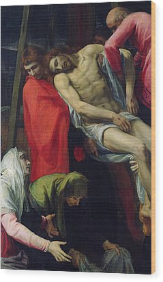 The Descent From The Cross Wood Print by Bartolome Carducci