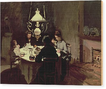 The Dinner Wood Print by Claude Monet