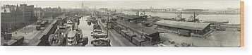 The Docks At Cologne - Germany - C. 1921 Wood Print by International  Images