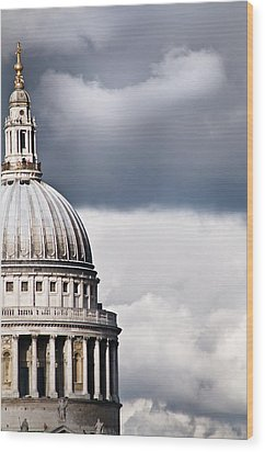 The Dome Of St Paul's Cathedral Against Stormy Sky Wood Print by Sarah Franklin www.eyeshoot.co.uk