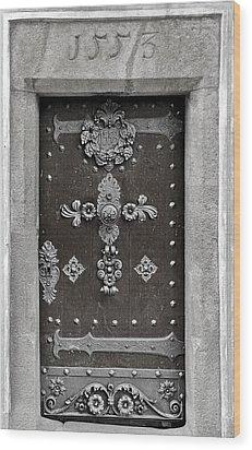 The Door - Ceske Budejovice Wood Print by Christine Till