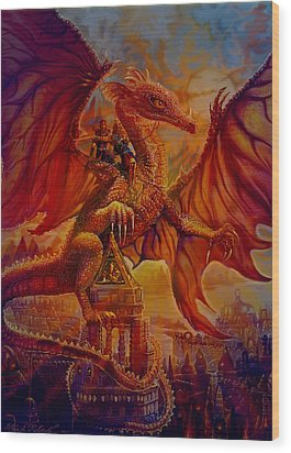 Wood Print featuring the painting The Dragon Riders by Steve Roberts