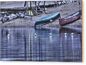 Wood Print featuring the photograph The Dramatic Canoe Scene by Janie Johnson