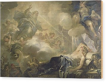 The Dream Of Solomon Wood Print by Luca Giordano