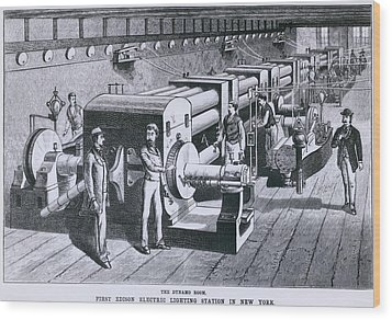 The Dynamo Room In The First Edison Wood Print by Everett