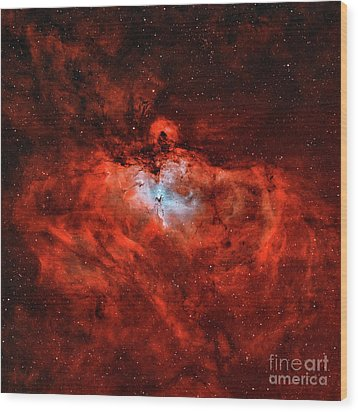 The Eagle Nebula In The Constellation Wood Print by Rolf Geissinger