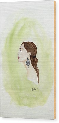 Wood Print featuring the painting The Earring by Alethea McKee