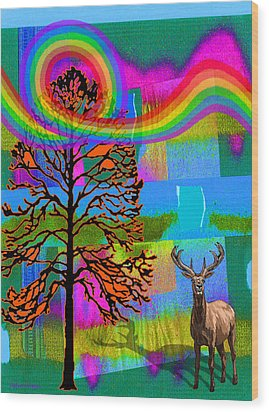 The Earth Rejoices Series Deer And Basswood Wood Print by Robin Jensen