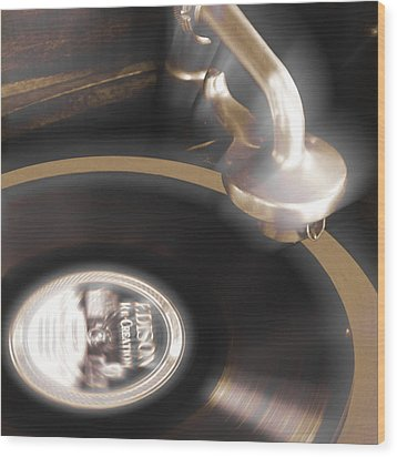 The Edison Record Player Wood Print by Mike McGlothlen