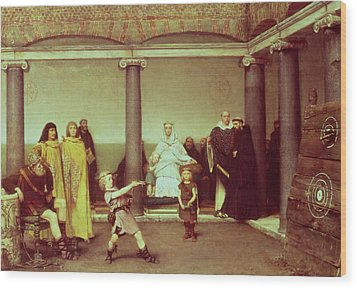 The Education Of The Children Of Clothilde And Clovis Wood Print by Sir Lawrence Alma-Tadema