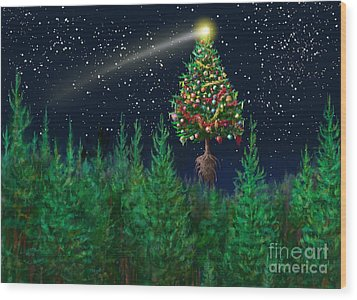The Egregious Christmas Tree Classic Landscape Wood Print by Russell Kightley