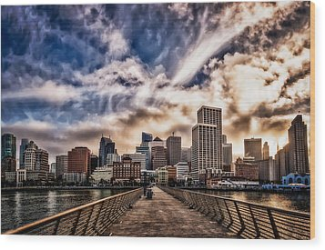 Wood Print featuring the photograph The Embarcadero On The Waterfront At Sunset by John Maffei