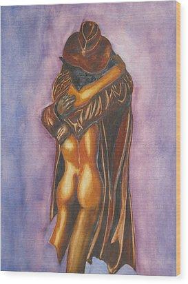 The Embrace Wood Print by Emmanuel Turner