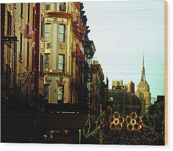 The Empire State Building And Little Italy - New York City Wood Print by Vivienne Gucwa